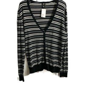 H&M striped cardigan navy & white size extra large